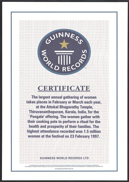 Attukal Guiness Certificate