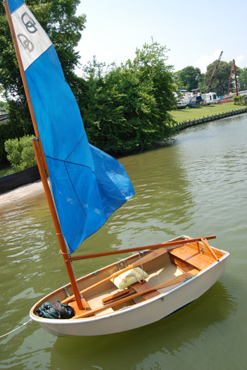 The S/V Tinker, our 9ft Cat-Rigged sailing dory!